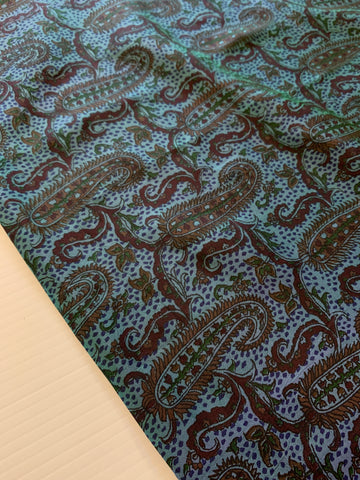 2.5m LEFT: Luxe light weight vintage double shot blue green silk w/ paisley