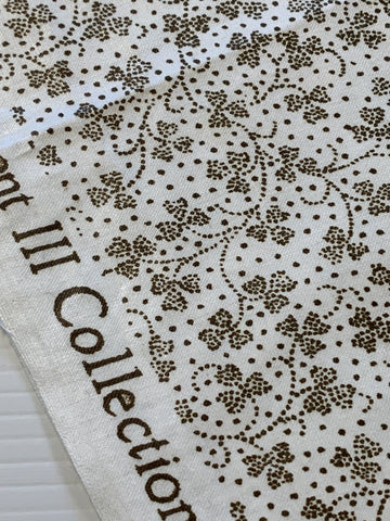 1m LEFT: Vintage 1980s brown dot clover on white decorator chintz Warner Textiles