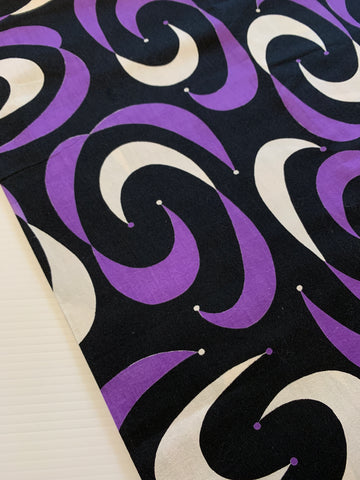 LESS THAN 1.5m LEFT: Rare atomic MCM 1950s jester print in purple white black