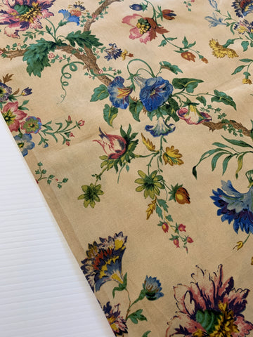 1m LEFT: Beautiful branches and flowers on caramel modern cotton twill