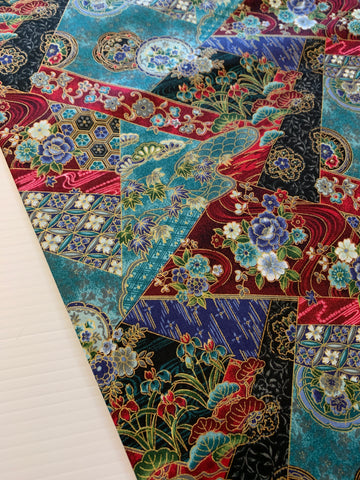 2m LEFT: Modern quilt cotton Oriental influence with gold lines