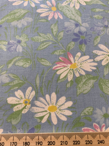 ONE ONLY: Vintage 1980s cotton chintz sampler with blue pastel floral