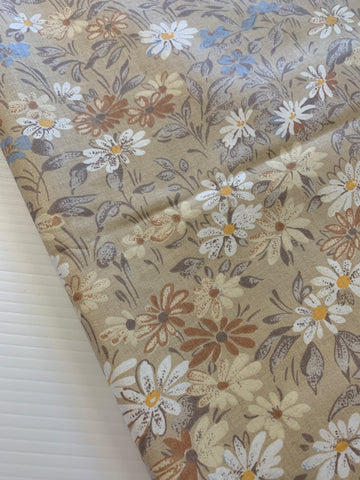 ONE ONLY: Vintage 1980s cotton chintz sampler with taupe floral