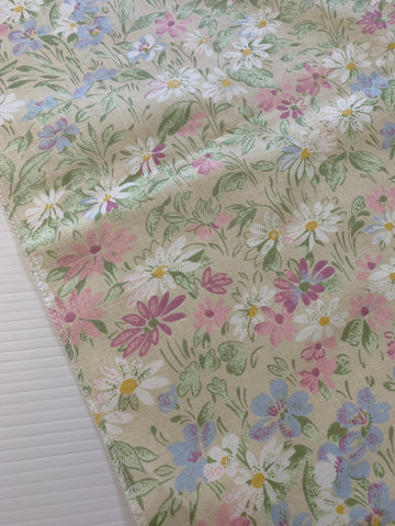 ONE ONLY: Vintage 1980s cotton chintz sampler with dark cream pastel floral