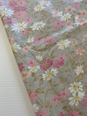 ONE ONLY: Vintage 1980s cotton chintz sampler with cool grey floral