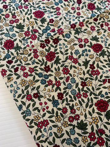 LAST ONE: Pretty dark pinks greens country floral modern quilt cotton