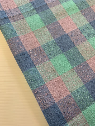 LESS THAN 3.5m LEFT: Vintage 1960s stunning pastel check barkcloth style