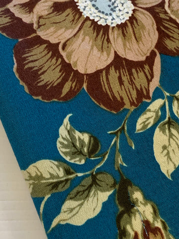 17 PATTERN REPEATS: Magnificent 1970s drapery large romantic floral on peacock blue