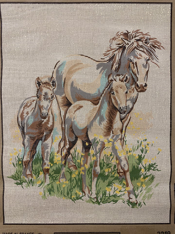 Unworked vintage 1985 French tapestry by Margot Mare and Foals
