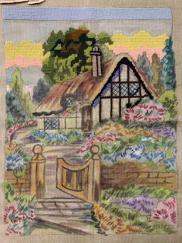 Partially worked vintage 1950s Tramme Traym Myart tapestry of cottage and garden