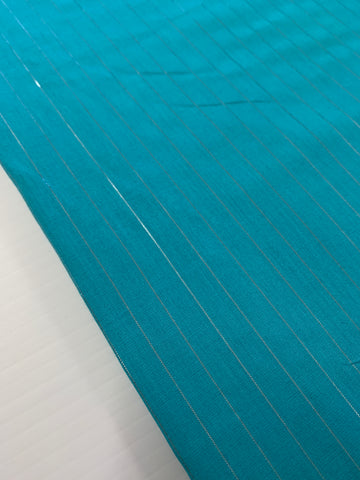 4m LEFT: Modern aqua light weight cotton with silver lurex thread 70s vibe