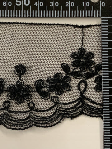 12m LEFT: Vintage 1980s French black synthetic lace 6.8cm high