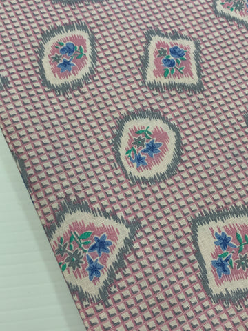 2.5m LEFT: Magnificent 1950s dress weight cotton with small flowers and squares