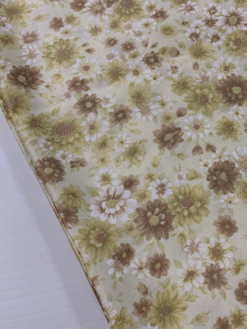 2.5m LEFT: Vintage 1960s pale green brown floral polished cotton