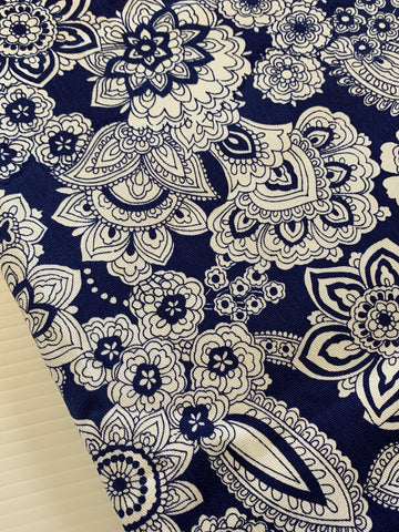 LESS THAN 4.5m LEFT: Vintage 1970s 80s retro white paisley on blue cotton drill