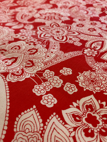 LESS THAN 2.5m LEFT: Vintage 1970s 80s retro white paisley on red cotton drill