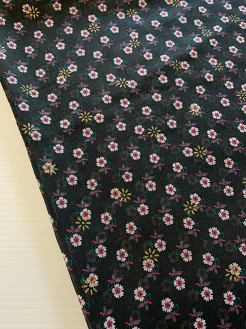 LESS THAN 3m LEFT: Beautiful 1980s black cotton voile w/ small gold flower