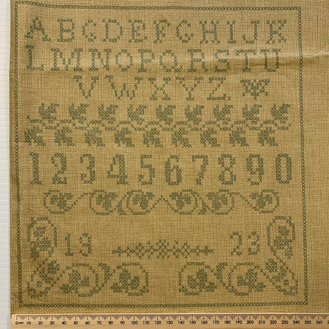 MODERN REMNANT: Alphabet sampler modern quilt cotton Blackbird Designs for Moda 112cm x 27cm