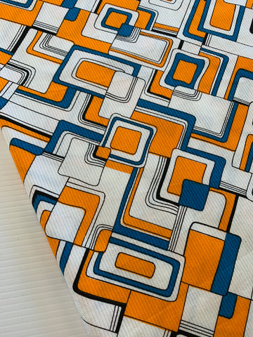 3m LEFT: Intense bright orange dark cerulean abstract 1980s cotton pique
