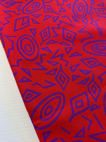 2m LEFT: Abstract 1980s Memphis style 1980s cotton twill bright red purple