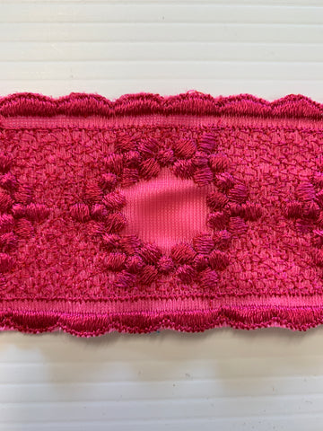 4m LEFT: divine 1960s 70s raspberry pink ornate rayon nylon trim 5.8cm wide.
