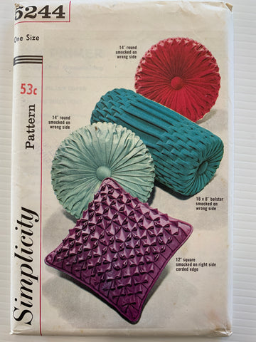 SMOCKED PILLOWS: Simplicity 1960s smocked pillows sewing pattern uncut FF *5244