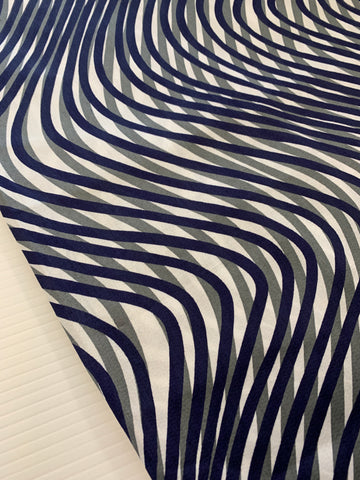 2.5m LEFT: Vintage 1970s navy blue warm grey curves sateen weave polished cotton