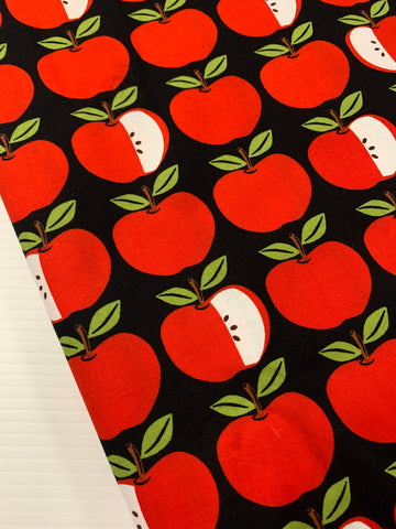 1.5m LEFT: modern quilt cotton weight Apple Parade red on black