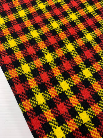 1m LEFT: Pure mod 60s 70s woven check wool crimson yellow black