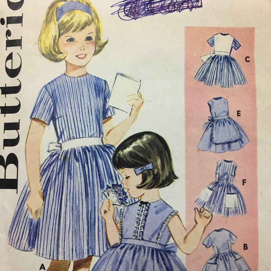 Butterick sz 8 girls buttoned dress full skirt 1960s *3057