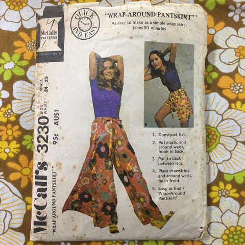 Fabulous wrap-around pant-skirt from 1971 size small *3230