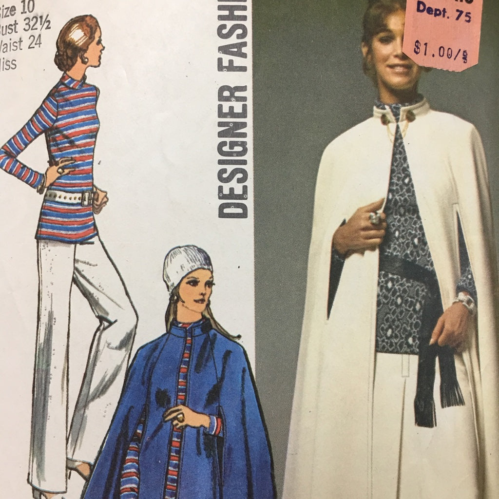 Mod 1970s ladies midi-cape skirt tunic pants sz 10 *9211