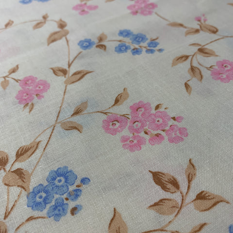 LESS THAN 1.5m LEFT: Pretty 1980s cotton sheeting with pink and blue floral FQ+