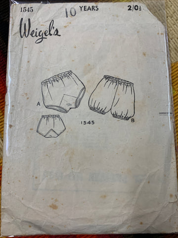 BLOOMERS & BRIEFS: Weigel's 1950s size 10y *1545