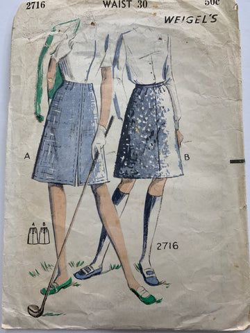"Vintage 1960s easy-to-make skirt Weigel's waist 30"" *2716"