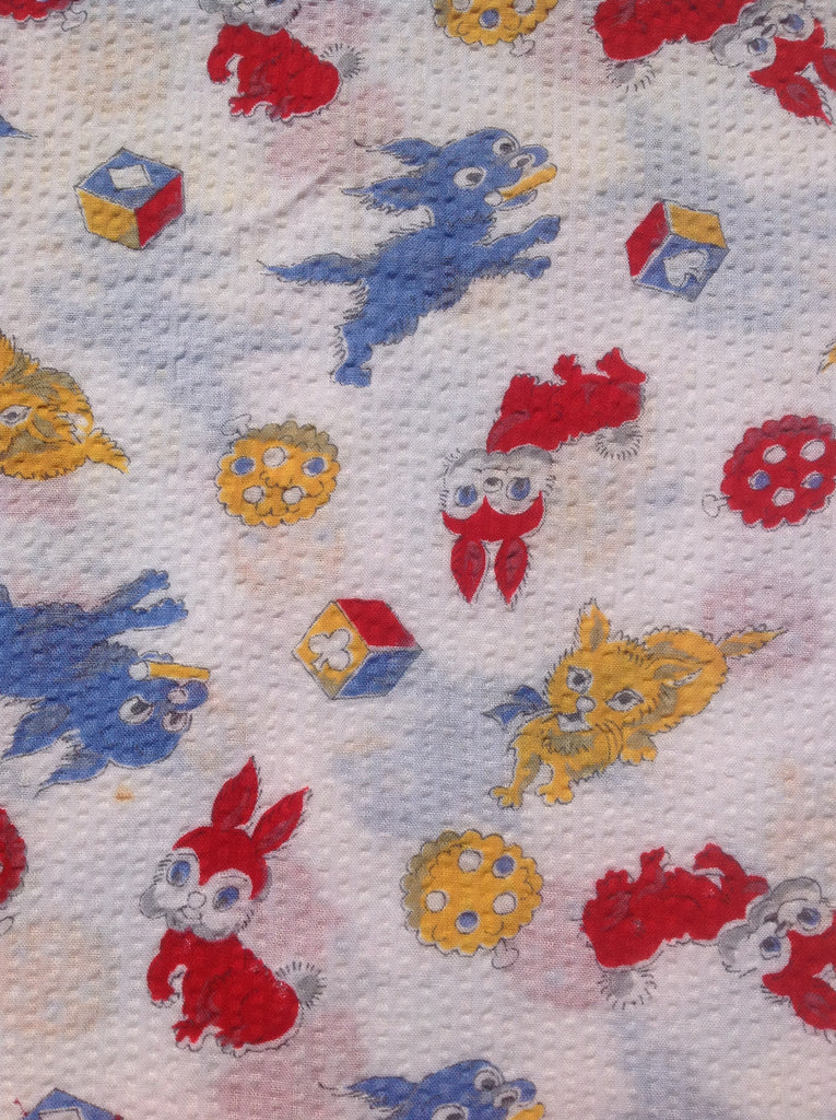 Cute kittens, puppies and bunnies cotton plisse 60s FQ+