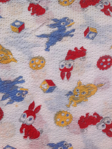 LESS THAN 1m LEFT: Cute kittens, puppies and bunnies cotton plisse 60s FQ+