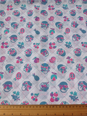 2m LEFT: Kitsch novelty fruits 70s 80s cotton blend FQ+