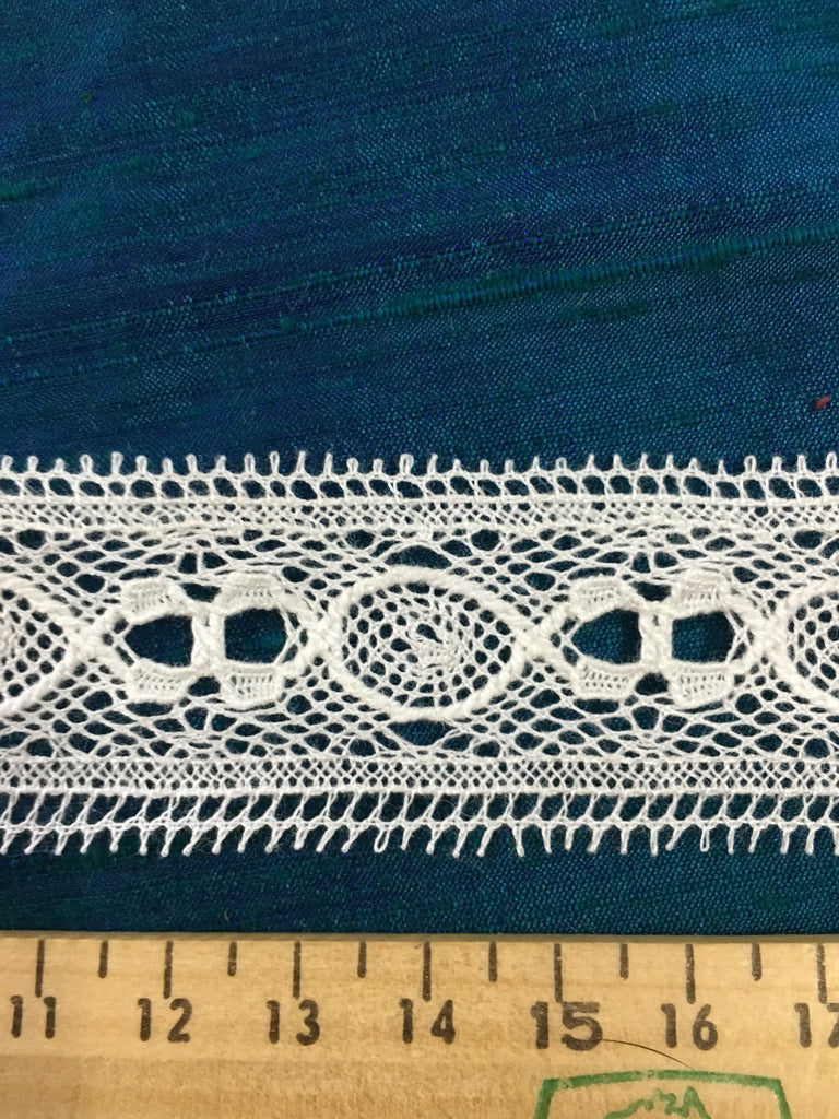 17m LEFT: Vintage? Modern? white nylon eyelet lace trim 1m+
