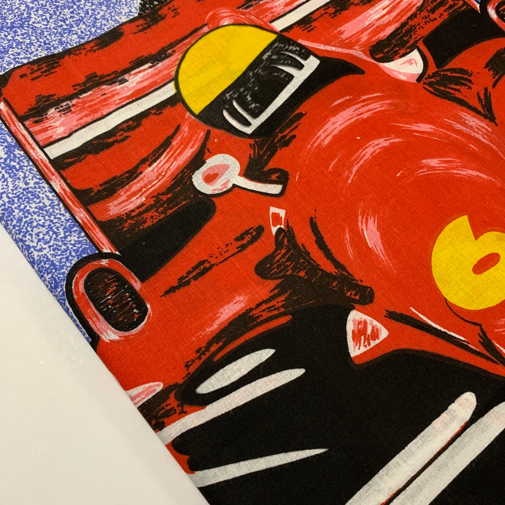Kitsch 1980s Ferrari motorcar racing cotton pillow case 70cm x 50cm