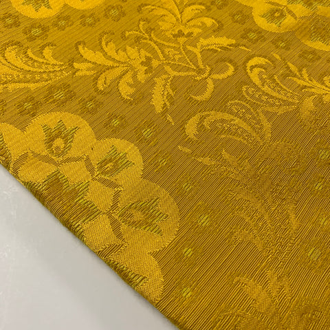 Luxe! Early 1970s woven rayon drapery in yellow gold FQ+