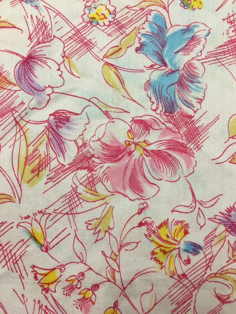 LESS THAN 1m LEFT: 1980s pink pastels cotton crepe w drawn floral FQ+