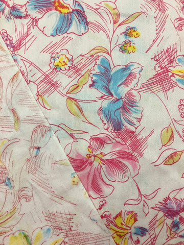 1980s pink pastels cotton crepe w drawn floral FQ+