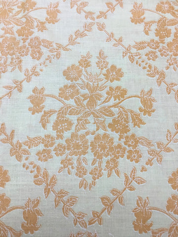 1/2m LEFT: Vintage 1970s retro yellow orange floral cotton sheeting FQ+