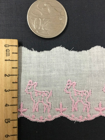 1970s ? cotton white trim with pink scalloped trim and fawns 5cm high 1m+