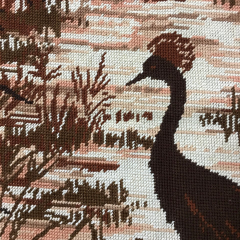 Magnificent Etoile Paris completed vintage needlework tapestry bird near lake 55cm x 69cm