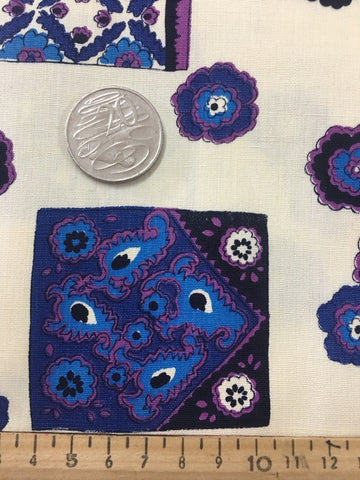Retro 1970s light calico blue purple floral FQ+