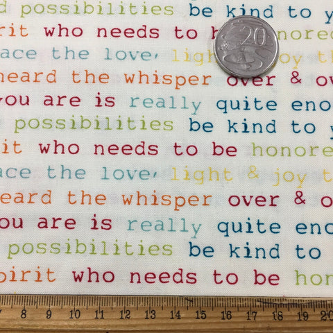 1/2m LEFT: Modern quilt cotton with uplifting words Beloved by Studio Bee FQ+