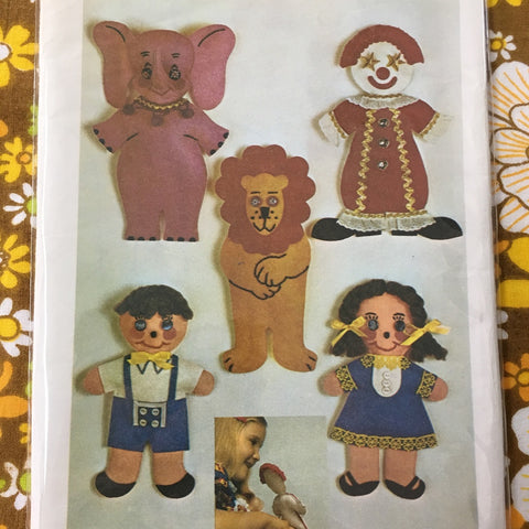 CRAFT PROJECT: Vintage finger puppets transfer pattern 1970s  *9739