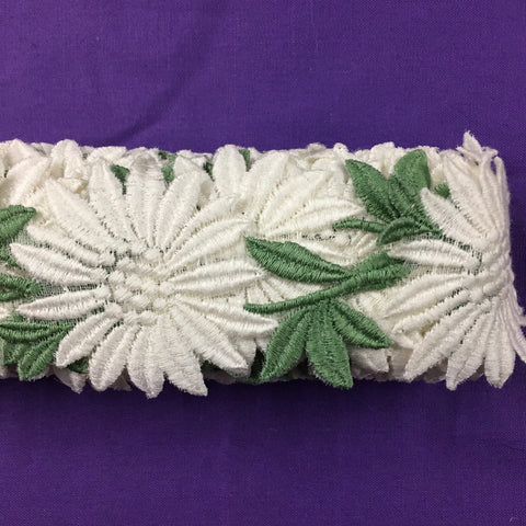 Vintage 1960s Swiss cotton trim with flowers and leaves 5.5cm high